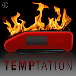 Advertisement for a red thermapen