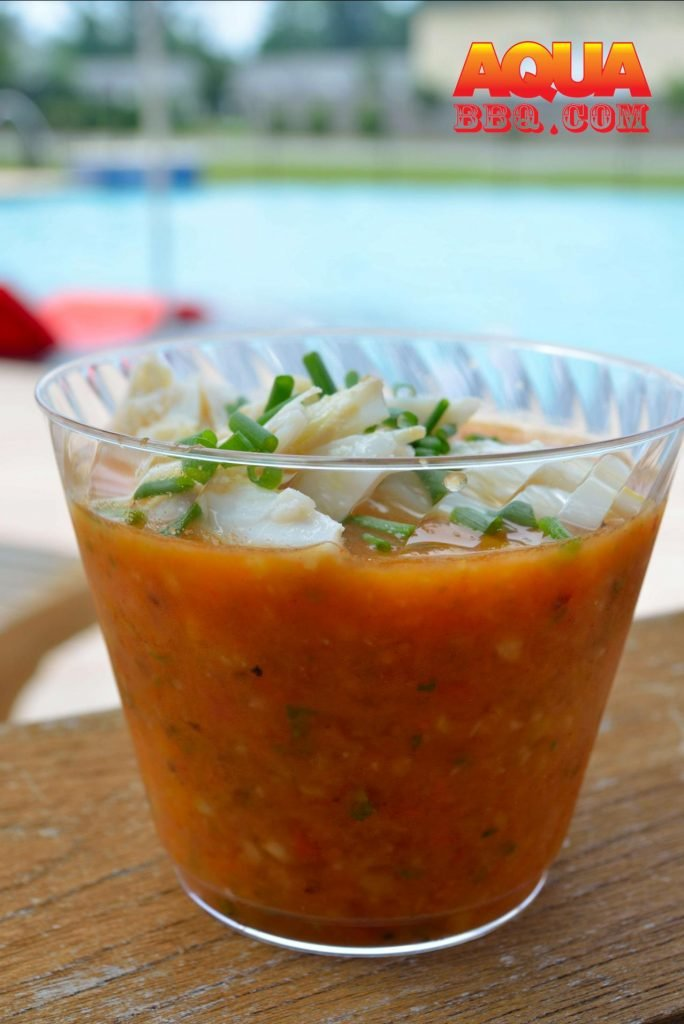 If nothing else, top the gazpacho with some fresh chives before serving. However, here on the Eastern Shore of Maryland, we felt compelled to top it with some fresh Maryland Jumbo Lump Crab. Grilled or smoked shrimp would also work well here.