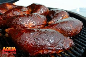 Glazed barbecue chicken finished smoking