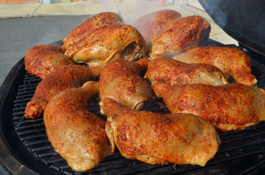 """Hot Smoke"" the chicken at 275 to 325 until the internal temp is 160 or so."