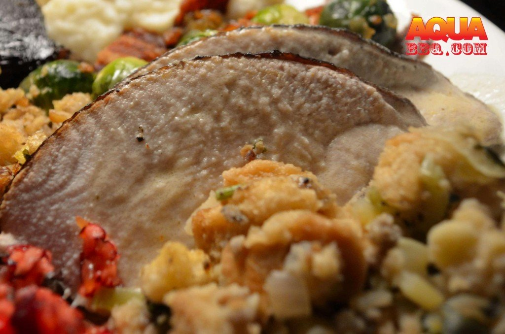 Here is a plate of love from last Thanksgiving. As an alternative to traditional gravy, try using a French style Dijon sauce to compliment the smoked turkey.
