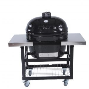 A primo grill with two side tables