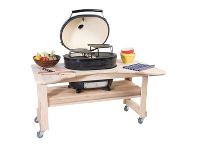 A full cypress table for holding the Oval XL Grill