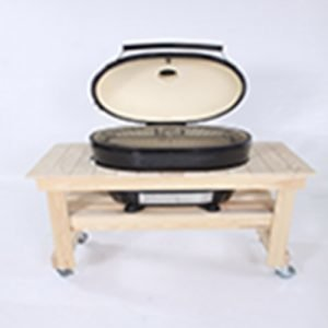 A compact wooden grilling table for the Primo Oval XL