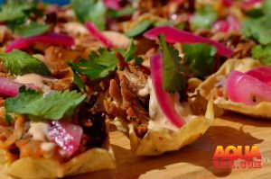 Pulled pork on tortilla chips