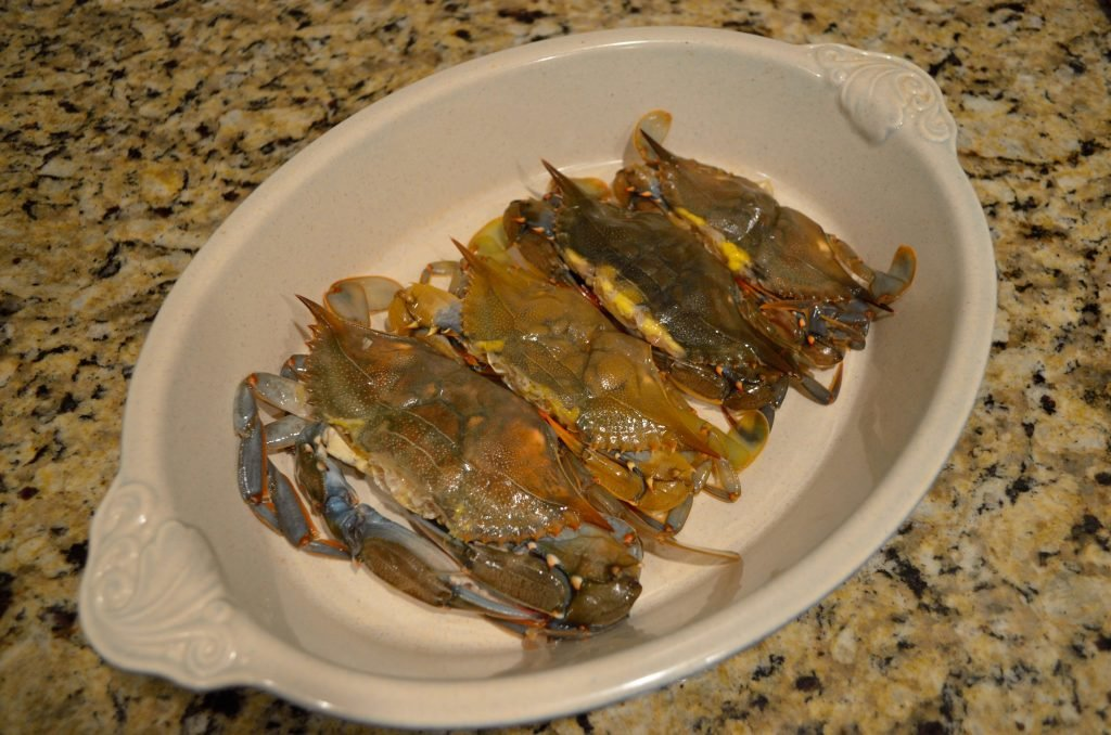 Start with cleaned soft crabs- we would recommend at least 2 per adult.