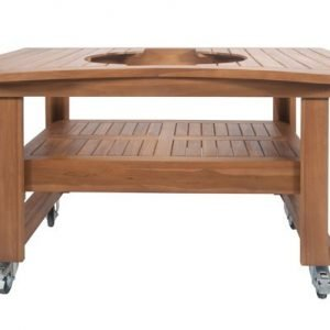 A wooden table with metal wheels with a grill shaped hole on top