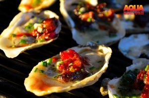 Grilled oysters on a Primo Grill