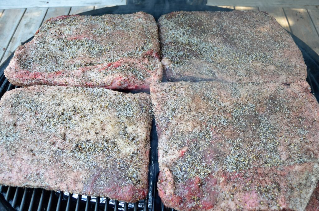 Prepare the Primo for smoking - target a smoking temp of 250 or so. For the Beef Ribs we used a mixture of Oak and Cherry.