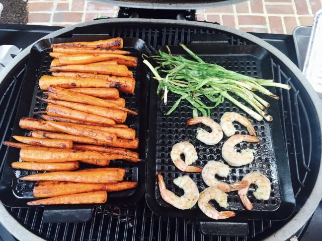 here we roasted carrots with scallions and shrimp - Primo Grills
