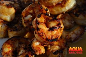 Grilled shrimp in a large pile